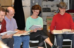 director Simon Skold with Mike Banas (Mark), Laura Hurd-Whited (Laura) and Jonathan Libby (John) in rehearsal for Love & Lobsters